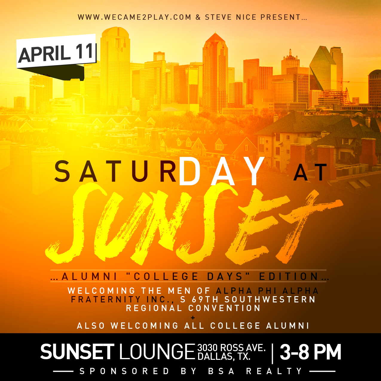 SaturDAY at Sunset [College Days] @ Sunset Lounge 4.11.15