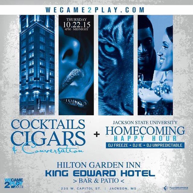 Cocktails, Cigars, & Conversation – Thursday Oct. 22 @ Hilton Garden Inn (King Edward Hotel) Bar & Patio